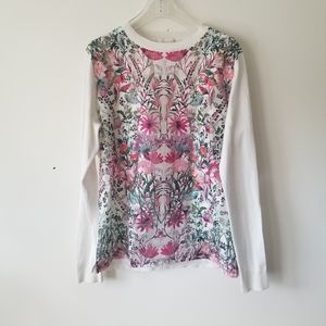 Ted Baker sweater top floral silk sheer sz 10